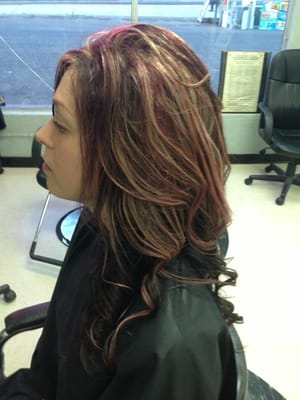 ... Violet Hair Color With Blonde Highlights Blonde and red highlights