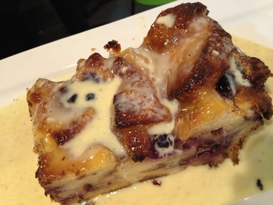 Blueberry lemon bread pudding with some vanilla sauce of sorts- $5.50 ...