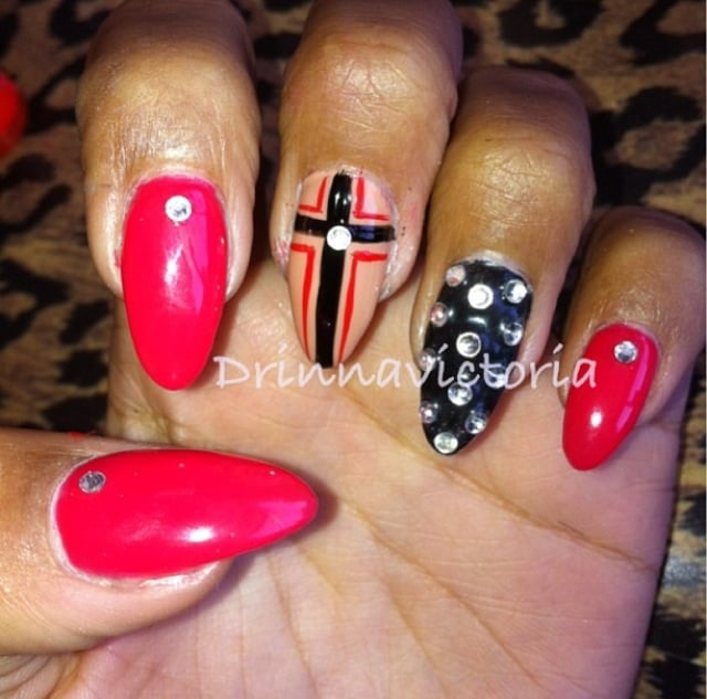 Acrylic Nail Designs With Crosses: Pointed Acrylic Nails And Cross Gel Design