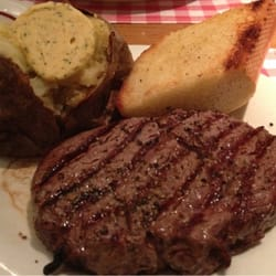 Rib eye with potato and herb butter instead of the sour creme