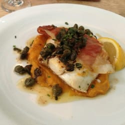 Hake, with the most incredible squash purée - delicious!