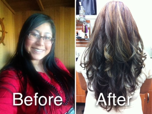 Partial Caramel Highlights On Dark Brown Hair Images & Pictures ...