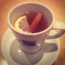 Drambuie hot toddy with apple, cinnamon, lemon and ginger. Delightful!