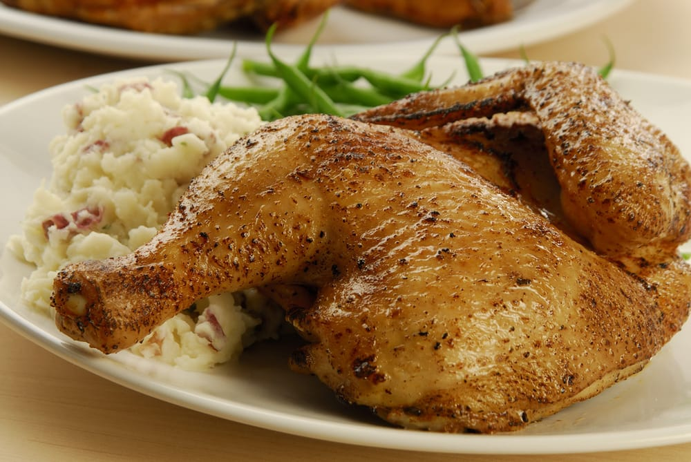 Roasted Half Chicken with french green beans & garlic mashed potatoes | Yelp