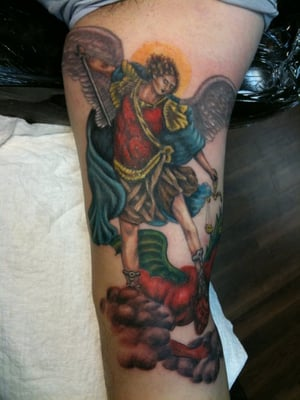the archangel michael vs lucifer done by doug yelp