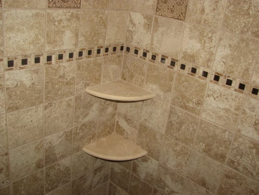 ceramic tile shower with marble corner shelves marlton nj. Black Bedroom Furniture Sets. Home Design Ideas