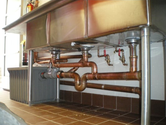 Commercial Kitchen Plumbing : ... 25 Gallon Grease trap, commercial sink, incoming & out going