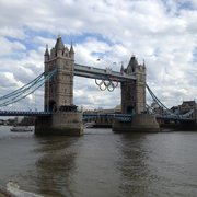The Tower Bridge during the Olympics, with the Olympic Rings