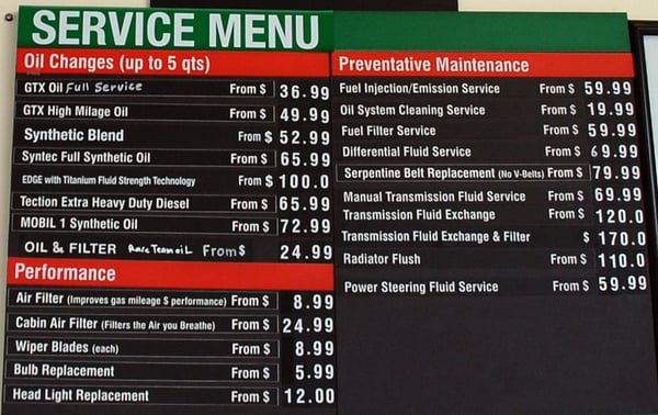 Service Menu Board Yelp
