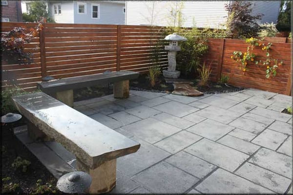 Mortared Black Basalt Patio Custom Stone Benches Edible
