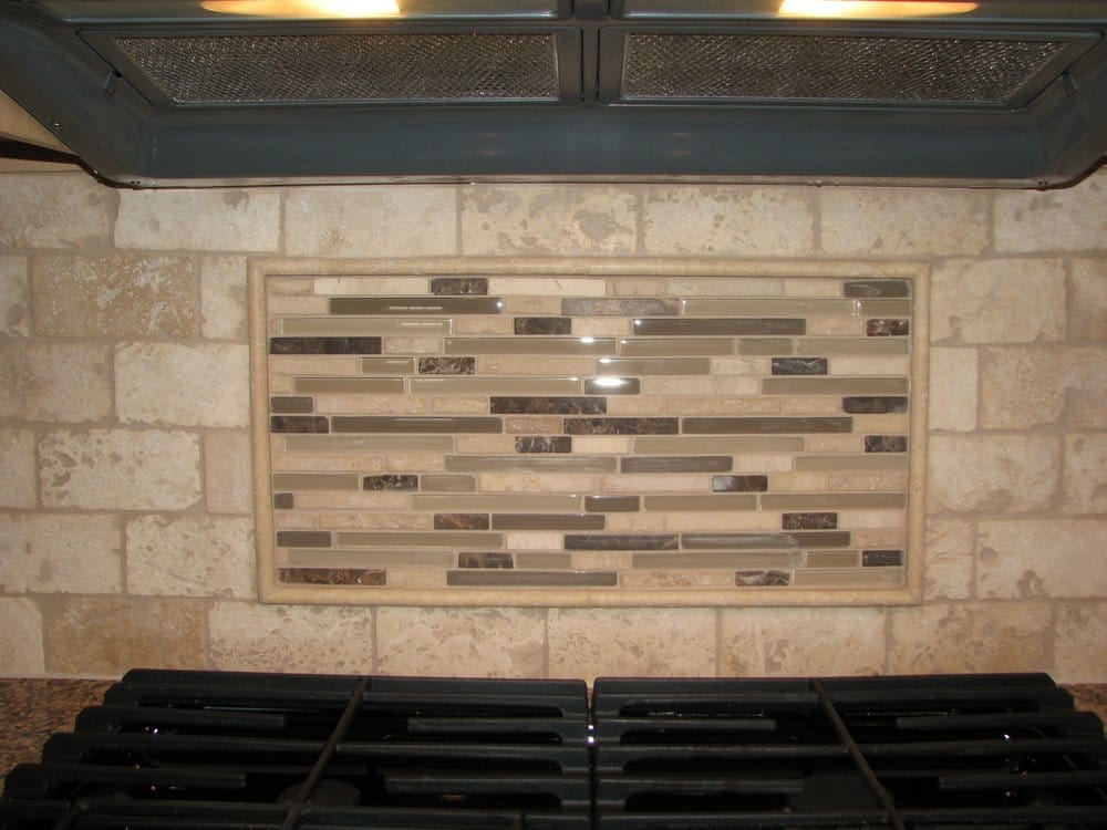 Travertine tile backsplash with glass tile mosaic mural for Backsplash tile mural