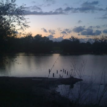 Sunset over the lake at the rear of the Pretty Pigs
