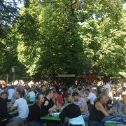 Biergarten at the Chinese Tower in the Englischer Garten on a beautiful summer afternoon