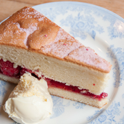 Victoria Sponge with clotted cream & fresh raspberries