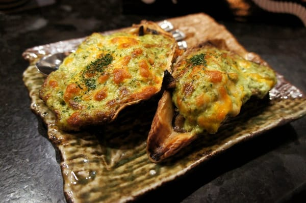 Grilled Oysters Kakimayo: grilled oysters with