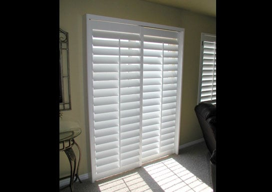 plantation shutter for sliding glass door 3 5 louvers yelp. Black Bedroom Furniture Sets. Home Design Ideas