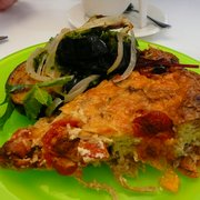 Veg quiche, eggplant with pesto