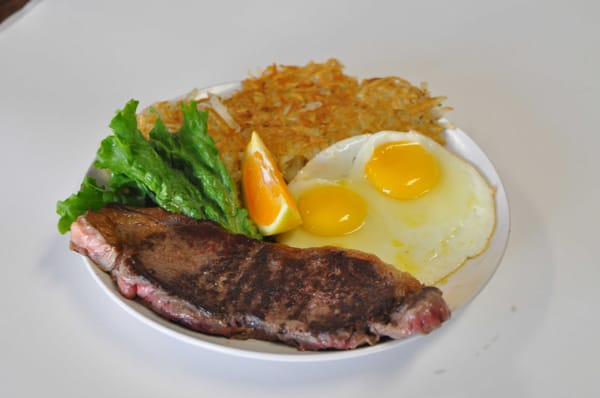 Steak, eggs, and hash-browns. | Yelp