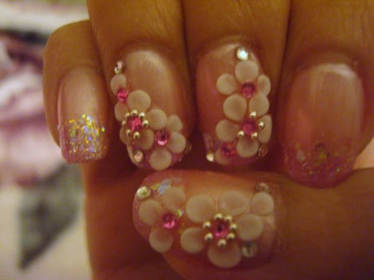per 3D nail art, $45 manicure: light pink cal gel with glitter tip ...