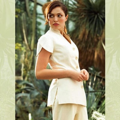 Coming soon the new organic 39 alya 39 tunic from fashionizer for Spa uniform policy