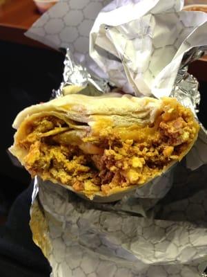 Chorizo sausage, eggs, potatoes and cheese Breakfast Burrito. | Yelp