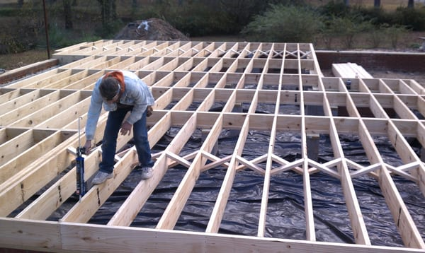 2x10 Floor Joist 16oc With Cross Bracing 6 Mil Poly Vapor