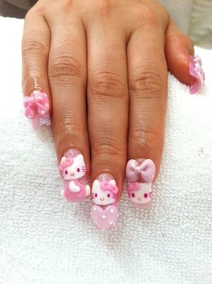 Acrylic sculptured nail, 3D Hello Kitty | Yelp