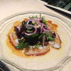 Octopus salad with citrus dressing garlic chips and for Aja asian cuisine menu