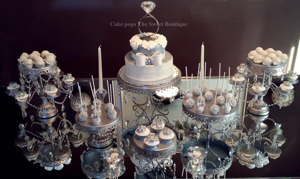 Silver white modern elegant engagement dessert table yelp - Decoratie opgeschort wc ...