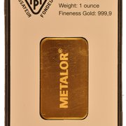 1 ounce gold bar metalor - available at BullionbyPost