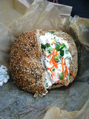 Whole wheat everything bagel & tofu vegetable cream cheese ...