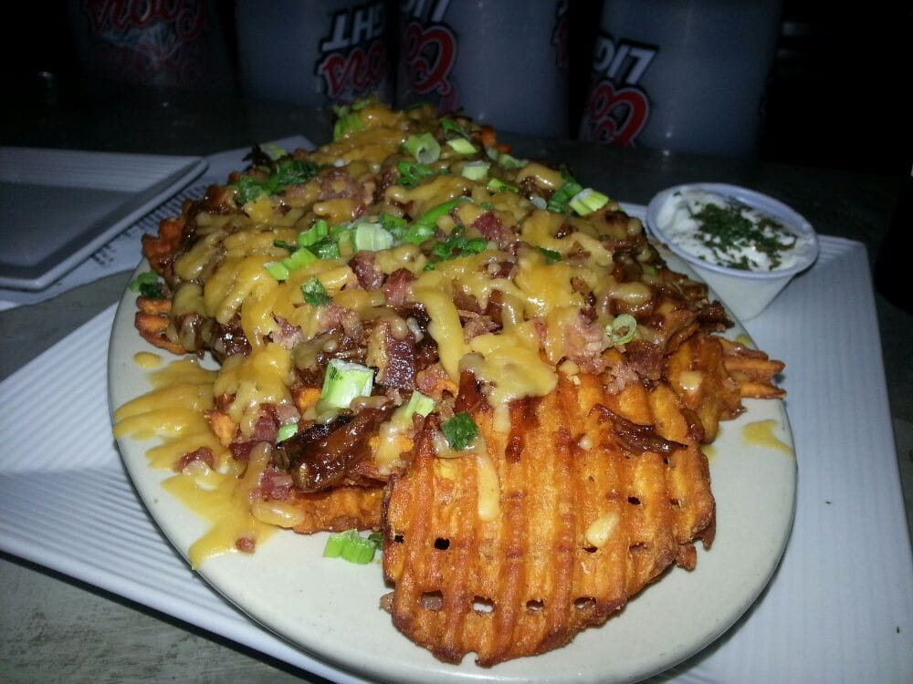 Loaded sweet potato waffle fries (pulled duck, bacon, etc) | Yelp