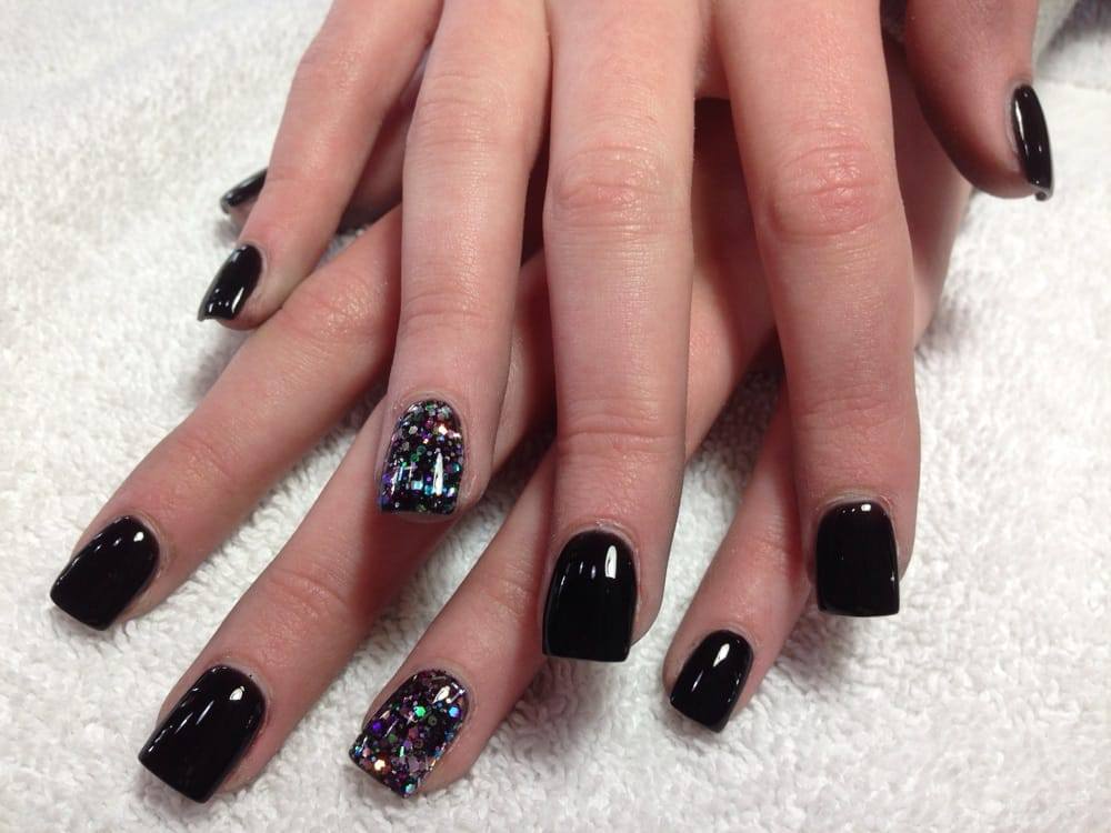 Healthy nails fullset in black powder | Yelp