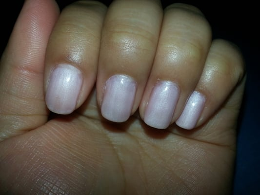 Bad gel job. Color was uneven and nail polish all over cuticles and