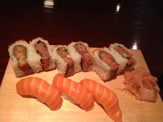 Spicy tuna sandwich my favorite and salmon sushi both for Asaka authentic japanese cuisine asheville nc