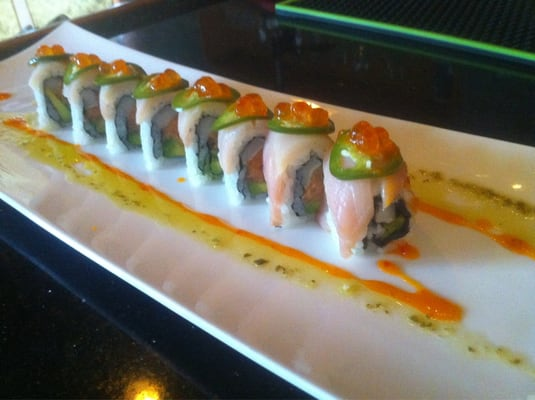 GodZilllaaa roll- spicy tuna, seared white tuna, avocado top with ...
