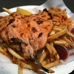 Red trout fries and rice for Fish grill pico