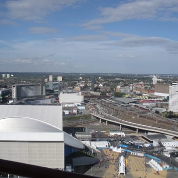 View of the Velodrome & the Olympic Park from The Orbit
