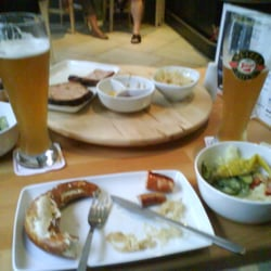 Our half eaten mixed platter and lovely, lovely Stiegl Weissbier