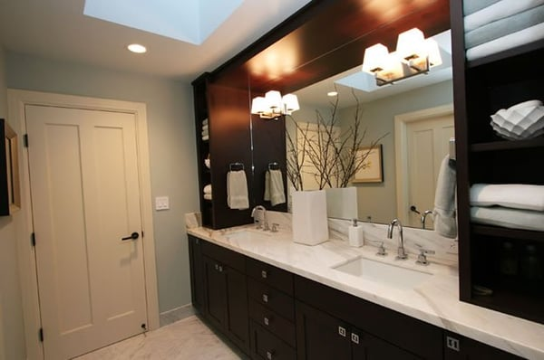 Cherry wood cabinets and natural stone countertops bring for Bathroom cabinets yelp