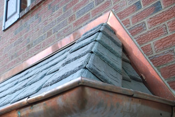 This Detail Shows Mitered Copper Counter Flashing A Slate
