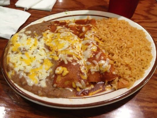 Enchiladas With Rice And Beans Two enchiladas, rice a...