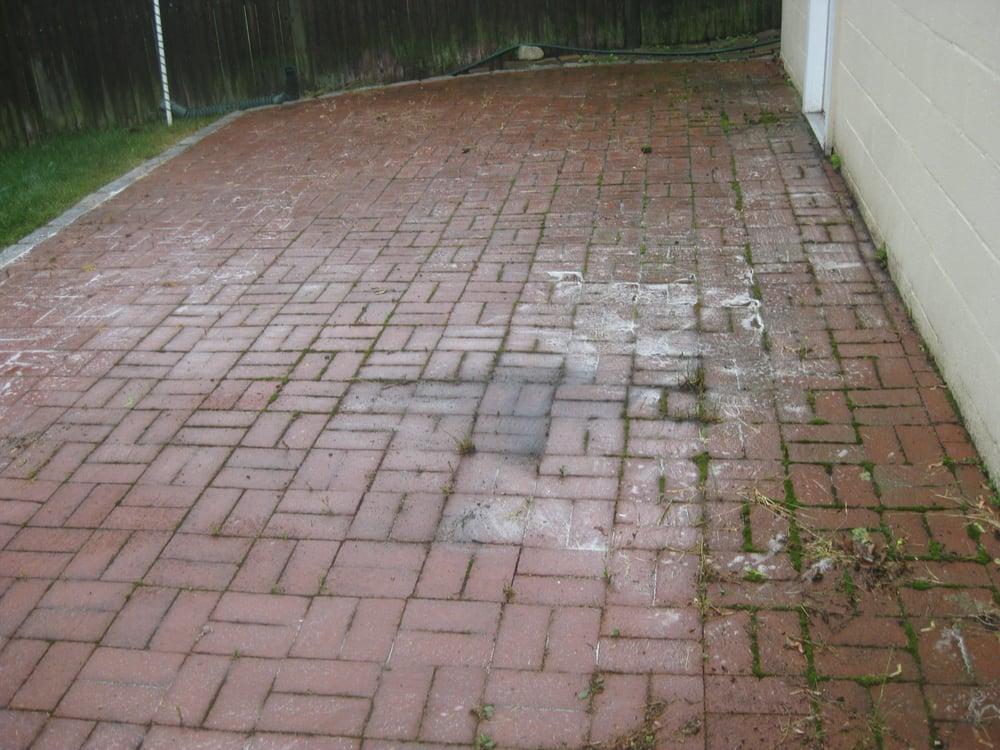 herringbone brick pavers before cleaning yelp