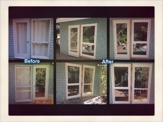 Before after with milgard tuscany series white vinyl new for Milgard fiberglass windows reviews