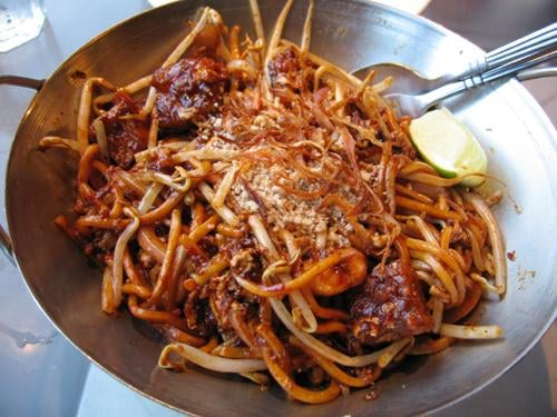 Indian Mee Goreng: stir-fried egg noodles with shrimp and egg in a ...