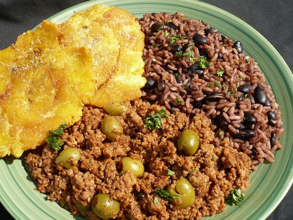 "Picadillo, Moros and Tostones ""Ground Beef and Olives, Rice and Beans ..."