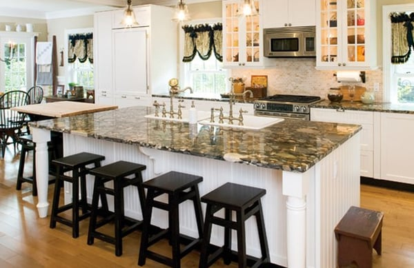 Kitchen Island design with double sinks in Morris County ...