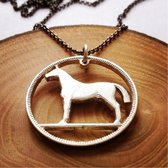"Handcut Irish coin sterling silver ""Horse"" necklace"