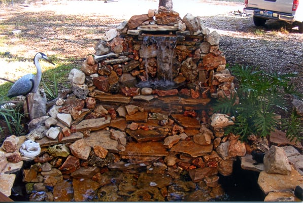 5 foot two tier waterfall in wimberley tx pond features for Artificial koi fish for ponds