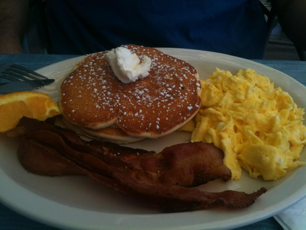 Pancakes with scrambled eggs and bacon | Yelp